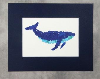 "Sea Glass Humpback Whale Print - 8x10"" mat with 5x7"" seaglass mosaic print"