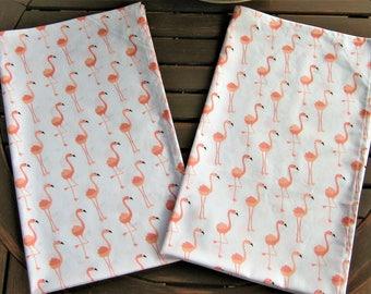 Flamingo Tea Towels, Set of 2 Tea Towels, Kitchen Towels, Dish Towels, Cotton Tea Towels