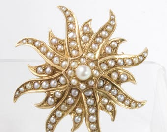 Antique Sunburst 14K Gold and Seed Pearl Pendant Brooch