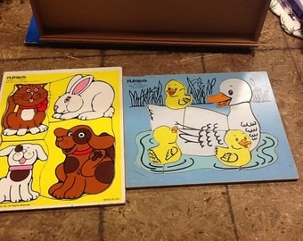 Set of 2 Vintage Playskool Wooden Puzzles