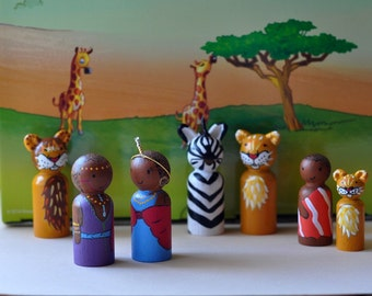 Peg dolls-the Maasai and their friends in Africa - Africa Maasai with lions and zebra - childrens wooden toys