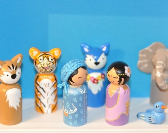 Peg dolls-the Hindus and their friends-Hindus - toys for children in Woods