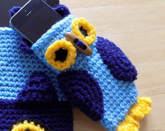 Owl Design Crochet Phone Case