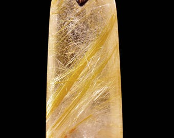 Golden Rutilated Quartz Pendant/Beautiful Inclusion Crystal/Crystal Pendant-30*14mm