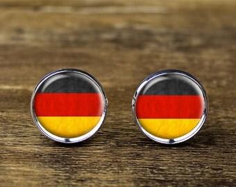 German flag cufflinks, Germany flag cufflinks, German flag jewelry, Germany cufflinks