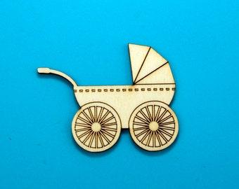 10 x Wooden Baby Buggies craft supplies,DIY wedding, Wedding decorations, card making