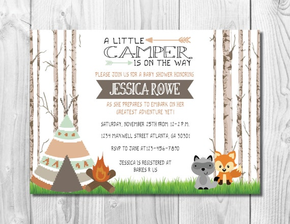 Camping Baby Shower Invitation >> Woodland Shower << Sprinkle Invite >> Forest Animals >> Rustic << Custom Printable Digital File