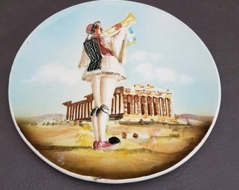 Vintage Hand Made in Athens Greece Wall Plate