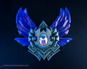 Diamond Badge, League of Legends - hand painted with gemstone