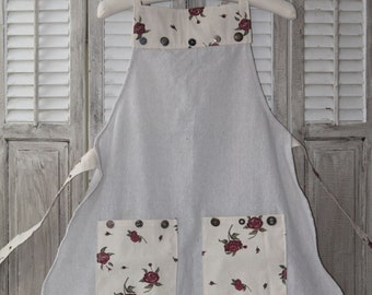 Roses & Plaid Fabric Work Apron