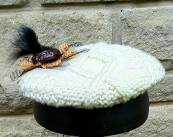 Cable knit fascinator hand stiched