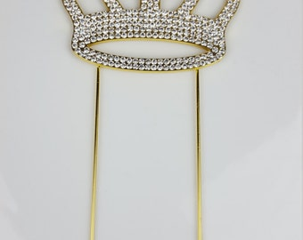 Rhinestone Gold Crown Cake Topper, Silver Rhinestone Crown Cake Topper, Crown Cake Topper, Rhinestone Cake Topper