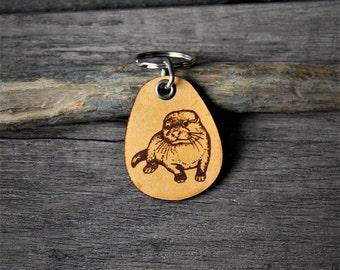 Otter - genuine leather keychain