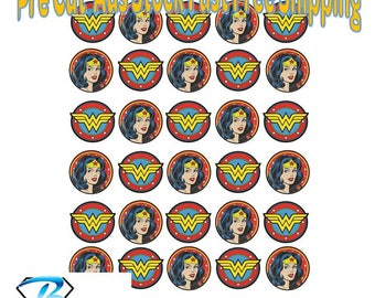 Wonder Woman Edible Cupcake Toppers 35mm Wafer Birthday Cake Decorating Kids