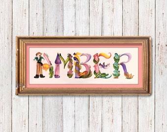 Custom Full Name Painting (2-15 Letters) Handmade Letter Brush Art Illustration, Perfect Gift for baby, Kids, Teenager & Adults