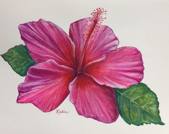 "ORIGINAL Art Watercolor-9x12"" Titled: ""Lipstick Pink Hibiscus"" - Watercolour Botanical Art Original Watercolor Hibiscus Flower"