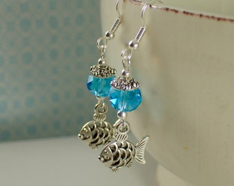 Double Sided Nibbling Fish Earrings