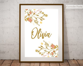Girl name wall art Printable Kids name wall decor Floral name art Customized gift Personalized baby Poster Babyshower gift Personalized gift