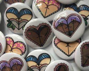 Butt Heart PinBack Buttons
