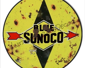 "Vintage Style "" Blue Sunoco ""  Service-Station Round Metal Sign, Rusted"