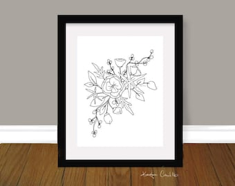 INSTANT DOWNLOAD - Floral Printable, Black and White Flower Art, Wall Art, Floral Art, flowers, Minimal Art, Gallery Wall, Minimal Decor