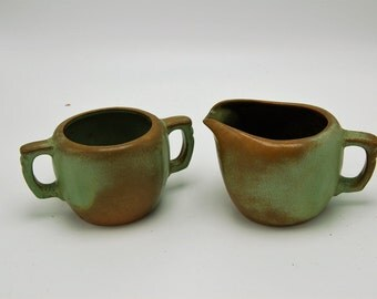 Frankoma 5A and 5B sugar bowl and creamer prairie green mid century