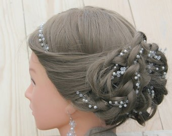 Bridal Crystal hair vine Pearl headpiece Bride halo Long garland Wedding hair wreath Pearl crystal prom hair accessories jewelry rustic vine