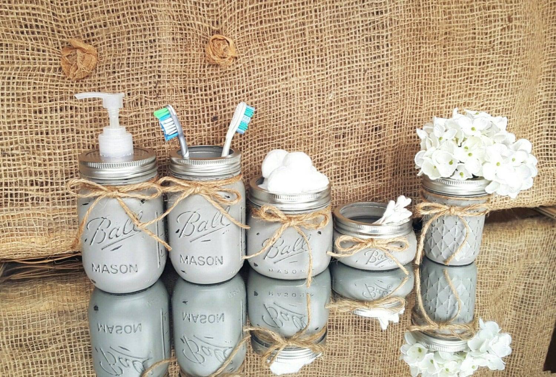 mason jar bathroom set rustic bathroom decor mason jar soap