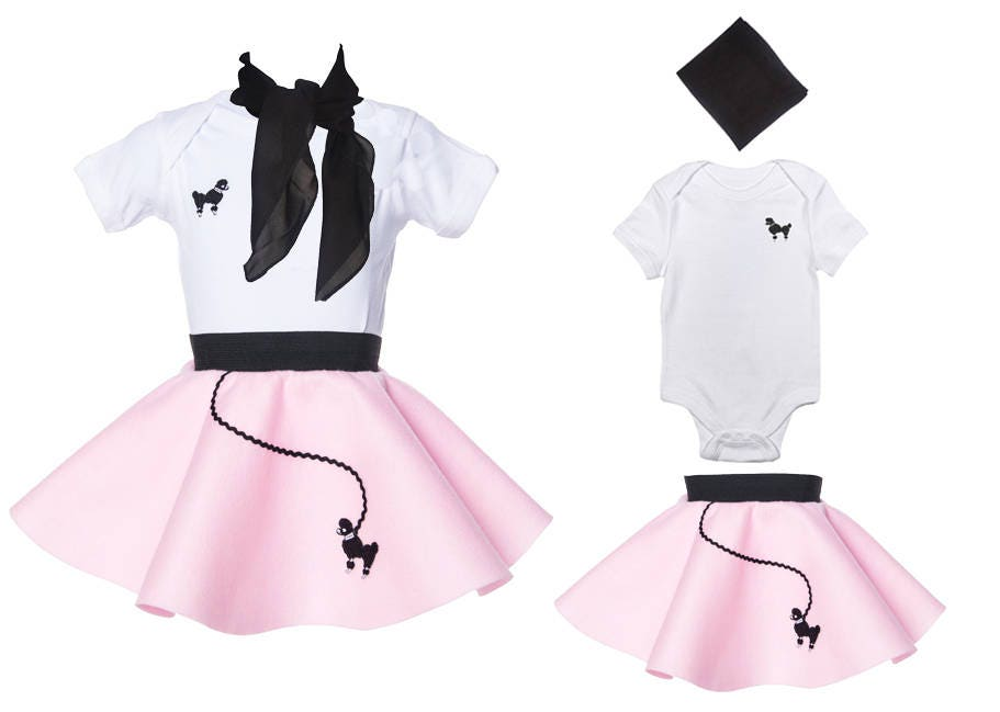 3 Pc BABY Infant 12 Month 50s POODLE SKIRT Outfit