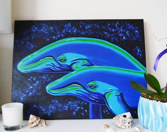 ON SALE - Original Acrylic Painting - Cosmic Whales