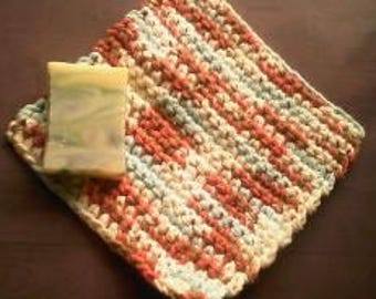 Thick exfoliating washcloth. Cotton washcloth. crochet washcloth.