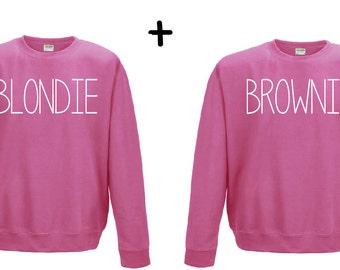 Blondie & Brownie couple sweater hoodie - blonde brunette shirt friends best friends
