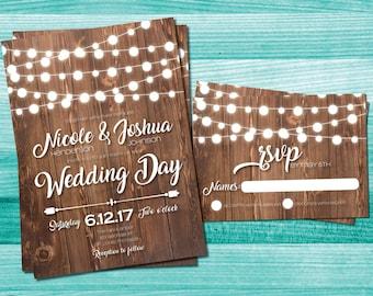 Rustic Wedding Invitations | Country Wedding | Wood String Lights | String Lights Invites | Rustic Wedding Invitations | Wood