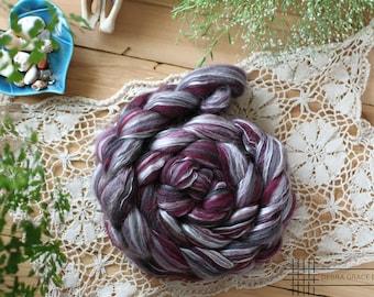 NZ merino and silk blend-22 micron, STORM, 3.5 oz (100 grams) of luxurious soft fiber for spinning, felting or fiber art.