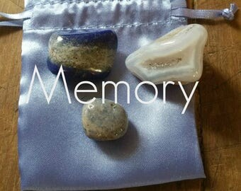 Gemstones to help with Memory, with French Blue Satin Pouch