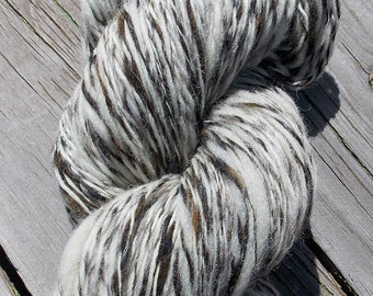 100% Hand Spun Shetland/Corridale/Merino Wool Yarn, 310 Yards Worsted Weight Skein, Aged Barnwood Color