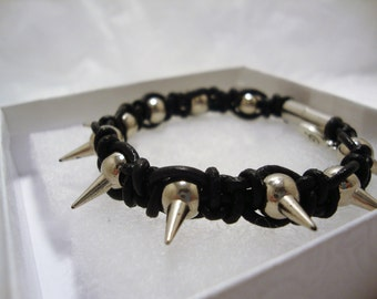 Black Leather Spiked Bracelet, Leather Spiked Bracelet, Leather Macrame Spiked Bracelet, Men's Jewelry,Spiked Bracelet,leather Bracelet,Goth