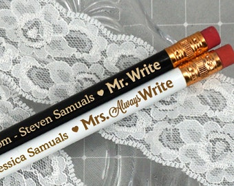 "Wedding Favor Pencils, Personalized ""Mr. Write, Mrs. Always Write"" Pencils - Set of 12"