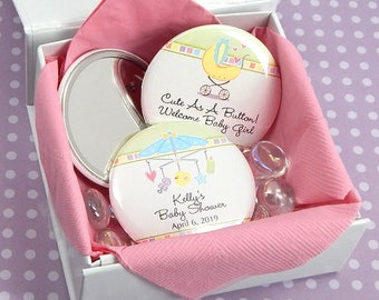 Baby Shower Favor Mirrors, Personalized Mirror Favors - Set of 24