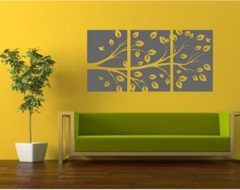 "3 Panel Vinyl Wall Decal, Tree Branch Pattern, Choose From Many Colours, Overall Size 38"" x 18"""