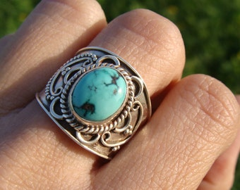 Natural Turquoise Gemstone Pure 925 Sterling Silver Ring, Boho Ring, Wide Ring, Gypsy Ring, Bohemian Ring, Turquoise Ring, Turquoise Jewelry