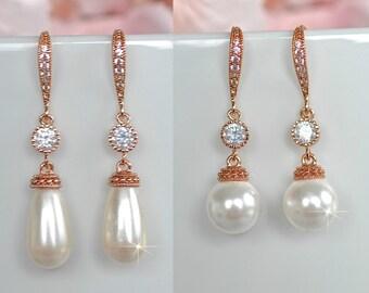 Rhodium, Yellow or Rose Gold Handmade Cubic Zirconia CZ & Pearl Dangle Bridal Earrings, Bridal, Wedding (Pearl-631)