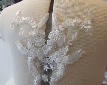 ivory floral cotton lace applique bridal wedding bolero lace motif sold By piece