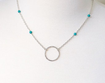 Turquoise Circle Pendant Necklace - Sterling Silver - Turquoise Necklace - Circle Necklace