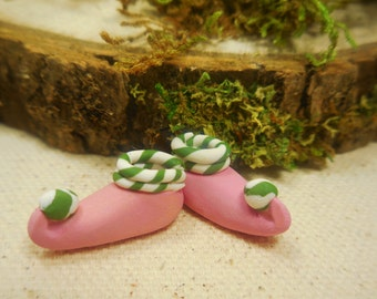 Tiny Fairy Slippers, Miniature Fairy Shoes in Pink with Green Stripes, Fairy Accessory for Fairy Gardens, Terrariums, and Miniatures