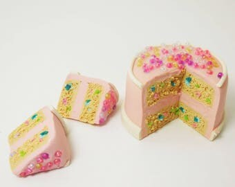 Fairy Confetti Cake, Mini Pink Cake, Tiny Birthday Cake for Faeries, Miniature Food Fairy Accessory for your Party Theme Minis and Gardens