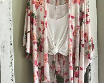 Cotton knit floral kimono