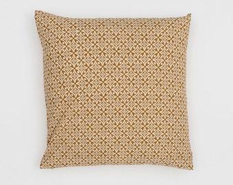 Nila Handscreen Printed Cushion Cover - Golden Yellow 50x50cm