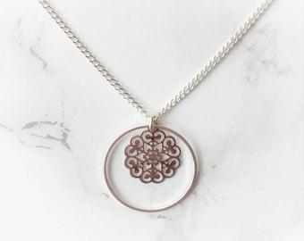 VII / 31 / Silver Chain Filigree Charm Necklace
