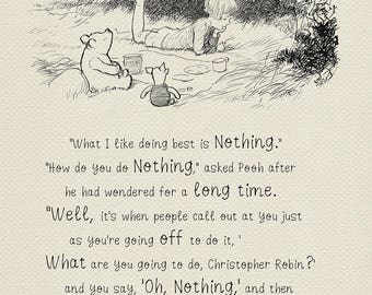 What I like doing best is nothing  - Winnie the Pooh Quotes  classic vintage style  poster print #27